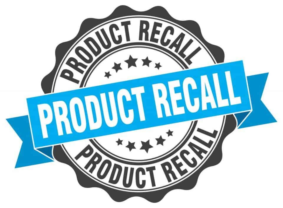 blue and black round product recall graphic on a white background