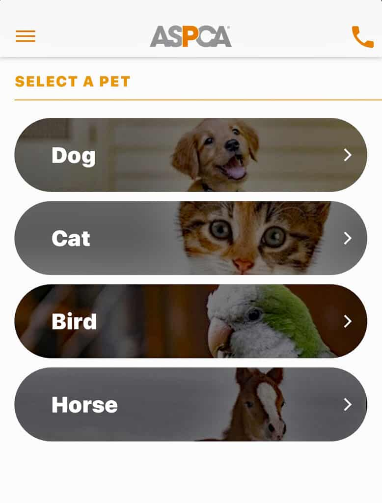 ASPCA iphone app screenshot March is National Pet Poison Prevention Month