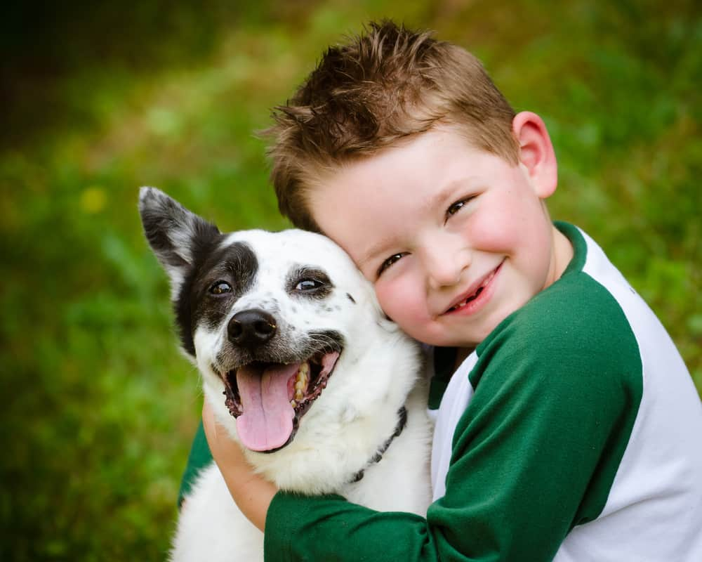 Dog with little boy