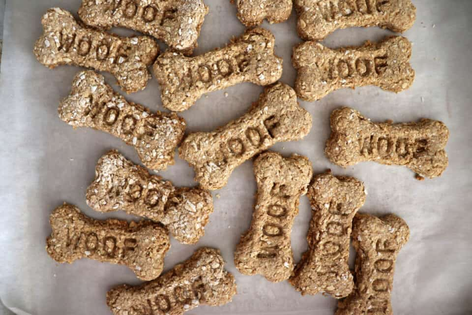 """Overhead shot of bone shaped dog treats with the word """"woof"""" stamped in them"""