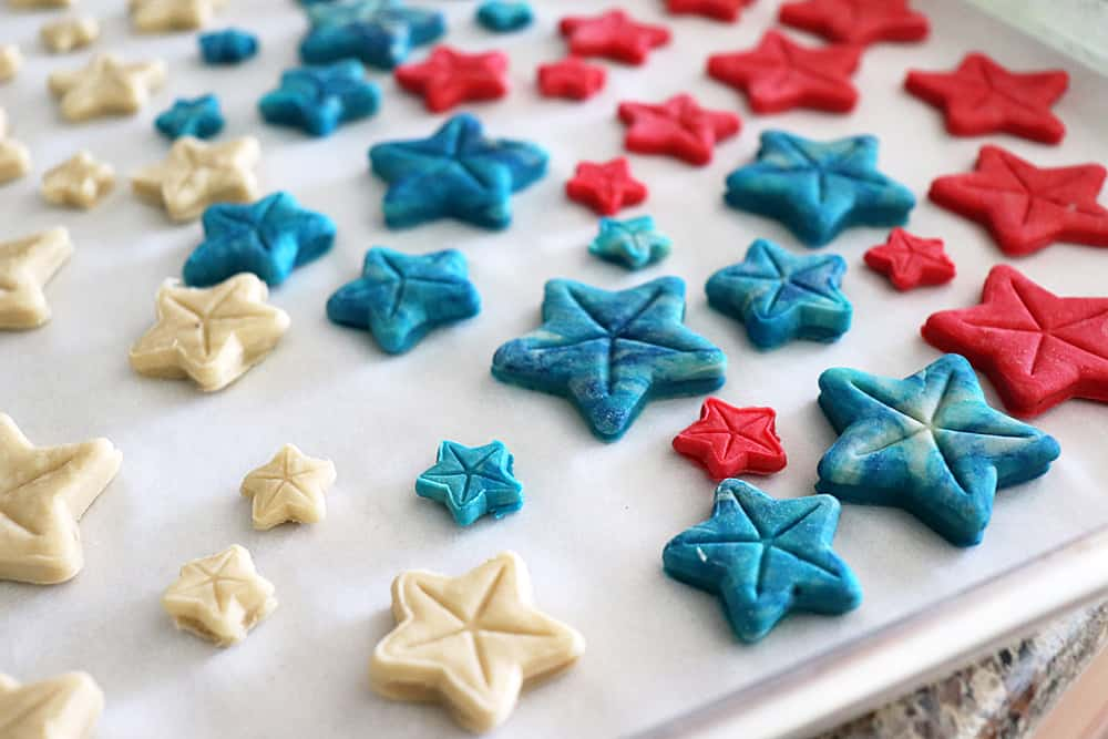 Tray of cookies for Homemade 4th of July Dog Treat Recipe