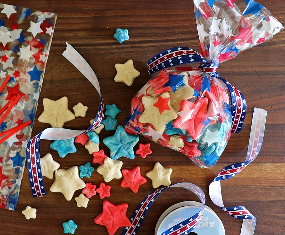 Bagging the cookies for Homemade 4th of July Dog Treat Recipe